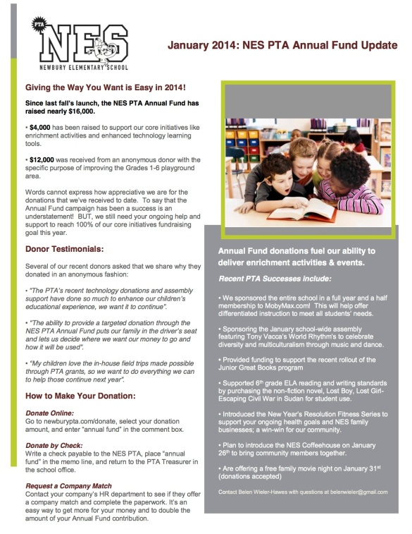 January 2014 NES PTA Annual Fund Update