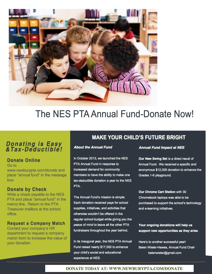 NES PTA ANNUAL FUND Sept 2014